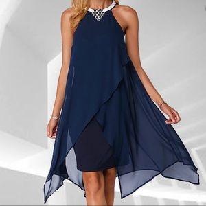 O-neck Sleeveless Asymmetrical Chiffon Dress